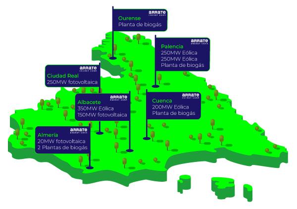 mapa de proyectos de energía renovable
